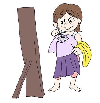 A girl choosing clothes