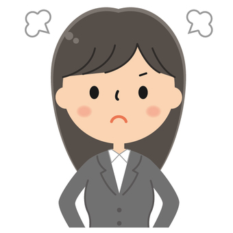 Cute suit female office worker's angry illustration