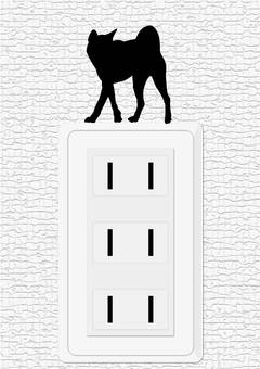 Outlet and dog wall sticker