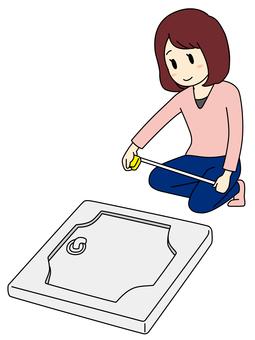 Search Room: Single lady measuring wash bread