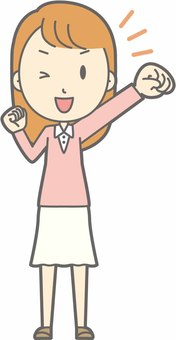 Young lady - cheering - whole body