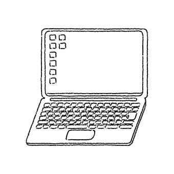 單色手繪風格筆記本電腦