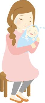 Mommy crying child crying