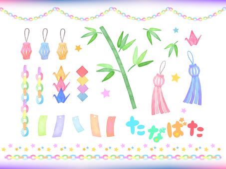 Free material of watercolor Tanabata decoration set
