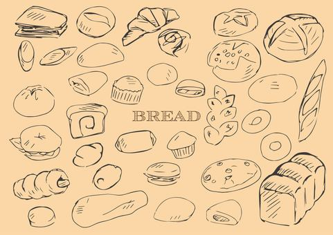Hand drawn bread line drawing black