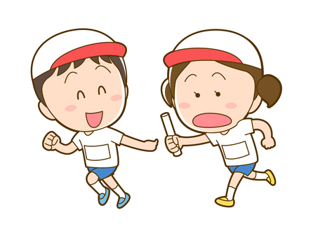 Children doing baton pass at sports day_020