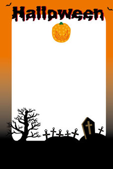 Pumpkin and Halloween village frame