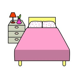 Double bed and chest