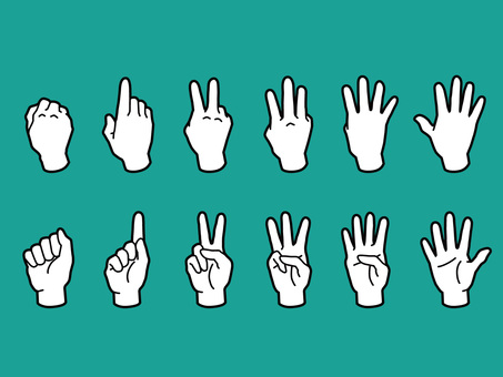 Hands and fingers · 1 to 5 · white nuri