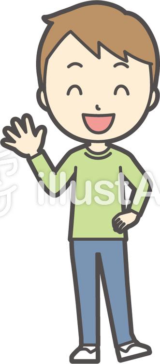 男の子グリーン長袖-275-全身のイラスト