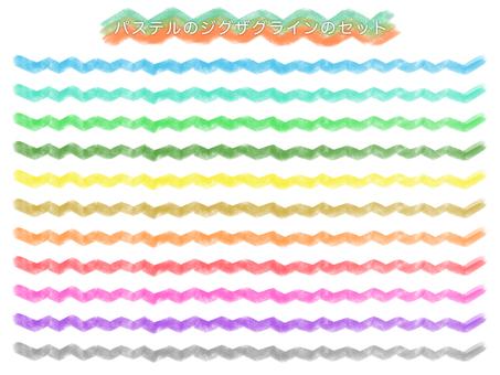 Zigzag line drawn with pastel