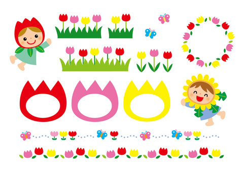 Spring frames and decorations for childcare and children