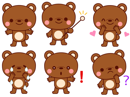 Bear facial expression and gesture set