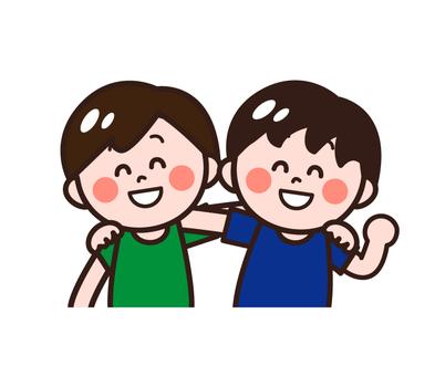 Children (friends) shoulder children (boys)