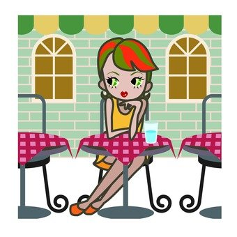 A woman sitting on the terrace · a coffee shop
