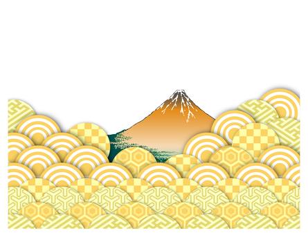 Wave and Mt. Fuji abstract image