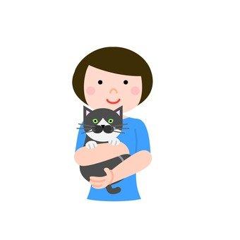 고양이를 안는 여성