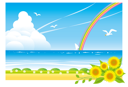 一个景观与海滨和水平线的看法