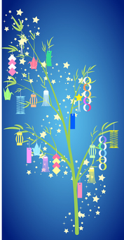 Tanabata set for summer (21 bamboo decorations)