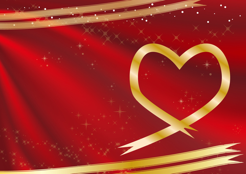 Heart frame (red fabric background gold heart)