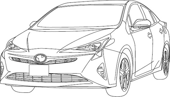 Hybrid car line drawing