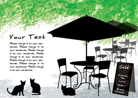 신록의 카페 4 메시지 카드 검은 고양이