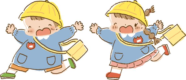Kindergarten children running