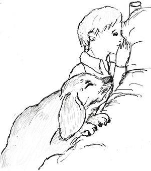 A boy and a dog who pray