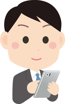 A businessman using a smartphone