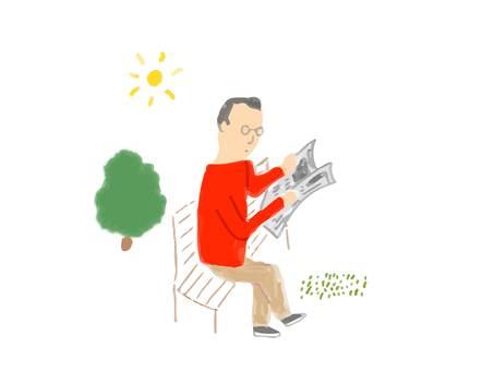 Man reading newspaper on bench