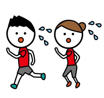 달리기하는 남녀