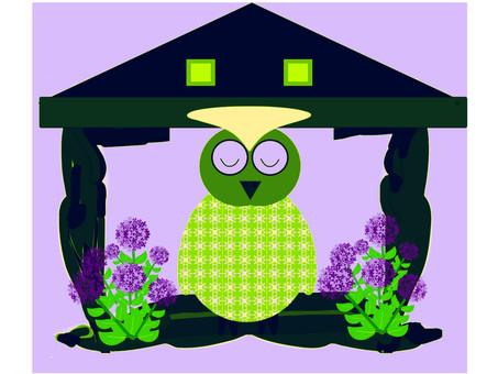Cute owl and hydrangea