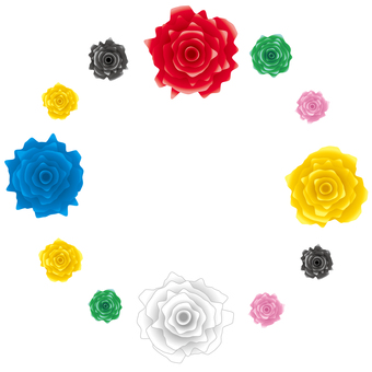 ぎざぎざの薔薇の円フレーム素材