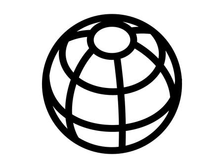 Globe white background icon bold line