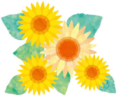 花ひまわり夏アイコン水彩手書きイラスト黄