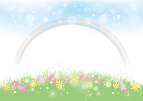 Rainbow and meadow background material 03