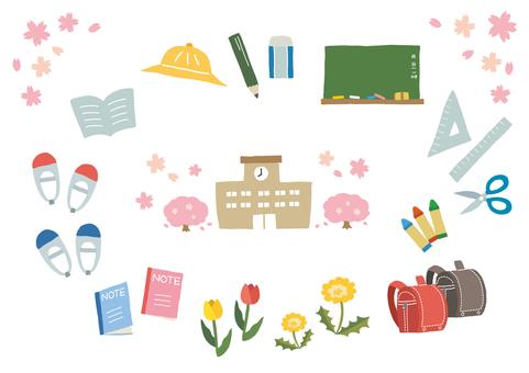 Spring hand drawn illustration set