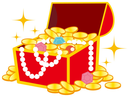 Treasure boxes and gold coins