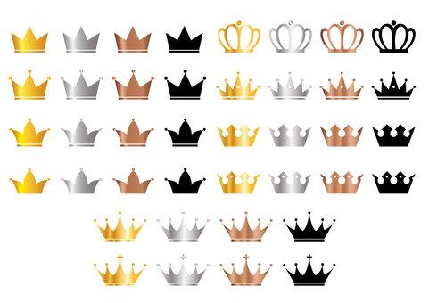 Illustration set of crown