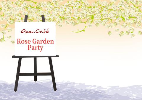 Open cafe illustration white rose garden