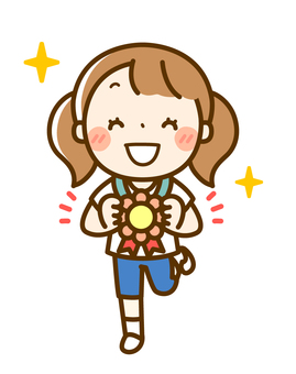 A girl who lowered a flower medal from the neck