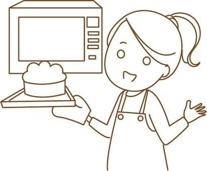 A woman making a cake