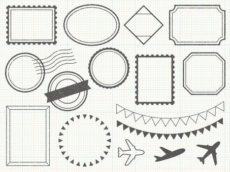 Stamp-like frame set (weak grunge)