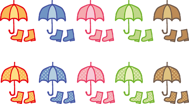 Illustration of an umbrella and boots