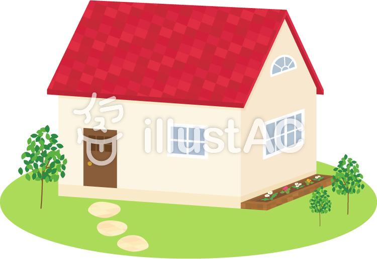 かわいい家シンプルな庭イラスト No 1191314無料イラストなら