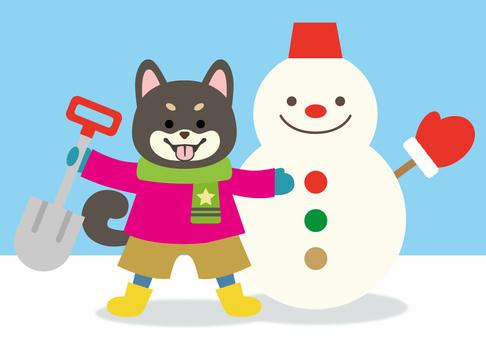 柴犬-黒-雪だるま作り-全身