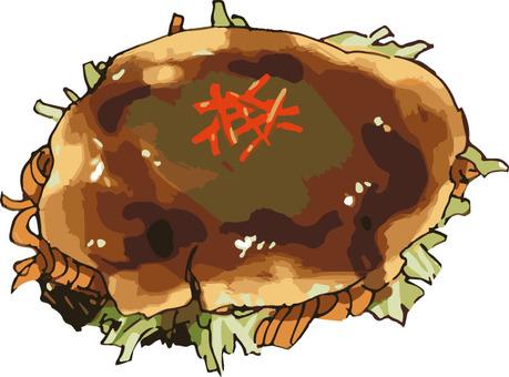 Okonomiyaki (Hiroshima style · hand-drawn)