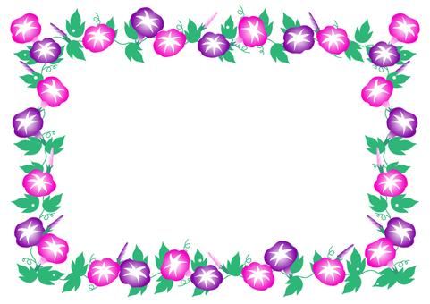 꽃 나팔꽃의 프레임 프레임 (핑크와 보라색)
