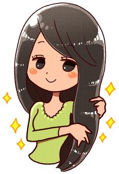 Sleepy hair female (black hair)