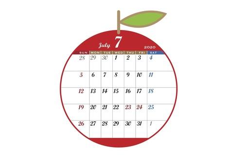 2020 Calendar Apple Red July